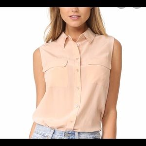 Equipment blush button front silk blouse, M